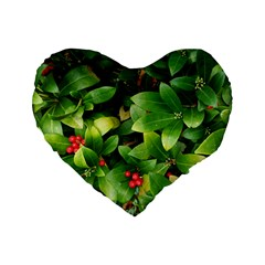 Christmas Season Floral Green Red Skimmia Flower Standard 16  Premium Heart Shape Cushions by yoursparklingshop