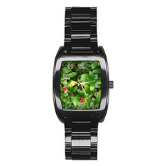 Christmas Season Floral Green Red Skimmia Flower Stainless Steel Barrel Watch