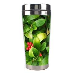 Christmas Season Floral Green Red Skimmia Flower Stainless Steel Travel Tumblers by yoursparklingshop