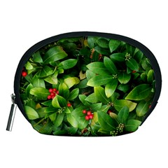 Christmas Season Floral Green Red Skimmia Flower Accessory Pouches (medium)  by yoursparklingshop