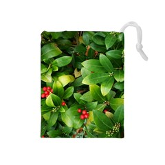 Christmas Season Floral Green Red Skimmia Flower Drawstring Pouches (medium)  by yoursparklingshop