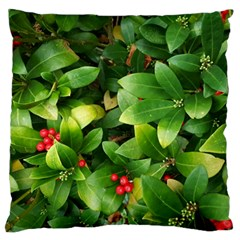 Christmas Season Floral Green Red Skimmia Flower Large Flano Cushion Case (two Sides) by yoursparklingshop