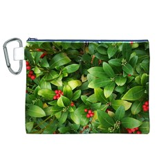 Christmas Season Floral Green Red Skimmia Flower Canvas Cosmetic Bag (xl) by yoursparklingshop