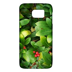 Christmas Season Floral Green Red Skimmia Flower Galaxy S6 by yoursparklingshop