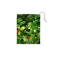 Christmas Season Floral Green Red Skimmia Flower Drawstring Pouches (xs)  by yoursparklingshop