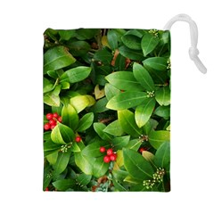 Christmas Season Floral Green Red Skimmia Flower Drawstring Pouches (extra Large) by yoursparklingshop