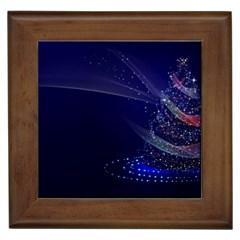 Christmas Tree Blue Stars Starry Night Lights Festive Elegant Framed Tiles by yoursparklingshop