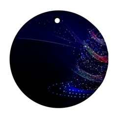 Christmas Tree Blue Stars Starry Night Lights Festive Elegant Ornament (round) by yoursparklingshop