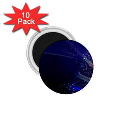 Christmas Tree Blue Stars Starry Night Lights Festive Elegant 1 75  Magnets (10 Pack)  by yoursparklingshop