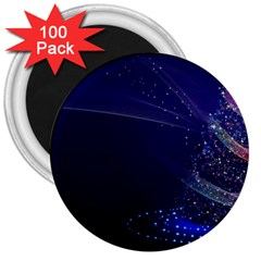 Christmas Tree Blue Stars Starry Night Lights Festive Elegant 3  Magnets (100 Pack) by yoursparklingshop