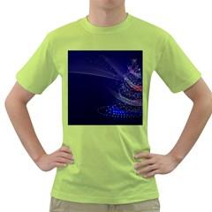 Christmas Tree Blue Stars Starry Night Lights Festive Elegant Green T Shirt by yoursparklingshop