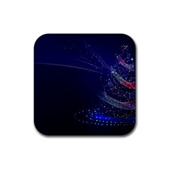 Christmas Tree Blue Stars Starry Night Lights Festive Elegant Rubber Square Coaster (4 Pack)  by yoursparklingshop
