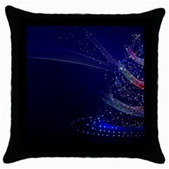 Christmas Tree Blue Stars Starry Night Lights Festive Elegant Throw Pillow Case (black) by yoursparklingshop