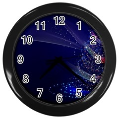 Christmas Tree Blue Stars Starry Night Lights Festive Elegant Wall Clocks (black) by yoursparklingshop