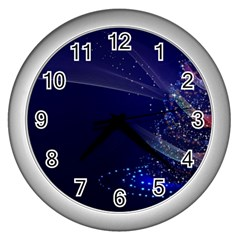 Christmas Tree Blue Stars Starry Night Lights Festive Elegant Wall Clocks (silver)  by yoursparklingshop