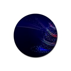 Christmas Tree Blue Stars Starry Night Lights Festive Elegant Rubber Coaster (round)  by yoursparklingshop