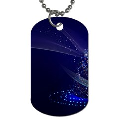 Christmas Tree Blue Stars Starry Night Lights Festive Elegant Dog Tag (two Sides) by yoursparklingshop