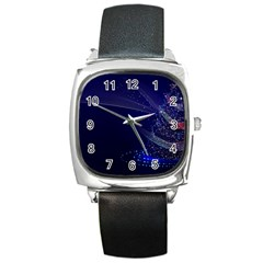 Christmas Tree Blue Stars Starry Night Lights Festive Elegant Square Metal Watch by yoursparklingshop