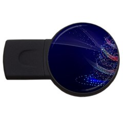 Christmas Tree Blue Stars Starry Night Lights Festive Elegant Usb Flash Drive Round (4 Gb) by yoursparklingshop