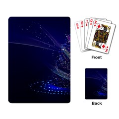 Christmas Tree Blue Stars Starry Night Lights Festive Elegant Playing Card by yoursparklingshop