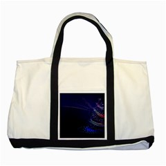 Christmas Tree Blue Stars Starry Night Lights Festive Elegant Two Tone Tote Bag by yoursparklingshop
