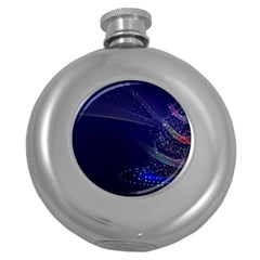Christmas Tree Blue Stars Starry Night Lights Festive Elegant Round Hip Flask (5 Oz) by yoursparklingshop