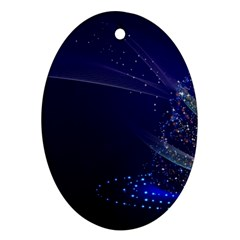 Christmas Tree Blue Stars Starry Night Lights Festive Elegant Oval Ornament (two Sides) by yoursparklingshop