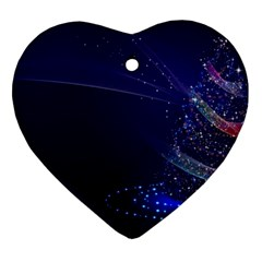 Christmas Tree Blue Stars Starry Night Lights Festive Elegant Heart Ornament (two Sides) by yoursparklingshop