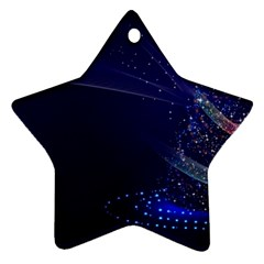 Christmas Tree Blue Stars Starry Night Lights Festive Elegant Star Ornament (two Sides) by yoursparklingshop