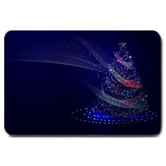 Christmas Tree Blue Stars Starry Night Lights Festive Elegant Large Doormat  by yoursparklingshop