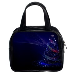 Christmas Tree Blue Stars Starry Night Lights Festive Elegant Classic Handbags (2 Sides) by yoursparklingshop
