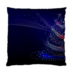 Christmas Tree Blue Stars Starry Night Lights Festive Elegant Standard Cushion Case (one Side) by yoursparklingshop