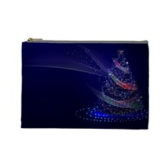 Christmas Tree Blue Stars Starry Night Lights Festive Elegant Cosmetic Bag (large)  by yoursparklingshop