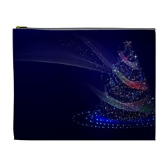 Christmas Tree Blue Stars Starry Night Lights Festive Elegant Cosmetic Bag (xl) by yoursparklingshop