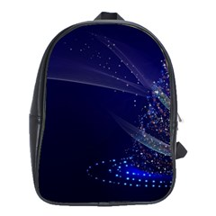 Christmas Tree Blue Stars Starry Night Lights Festive Elegant School Bag (large) by yoursparklingshop