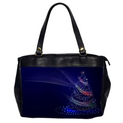 Christmas Tree Blue Stars Starry Night Lights Festive Elegant Office Handbags (2 Sides)  by yoursparklingshop