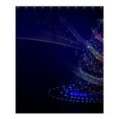 Christmas Tree Blue Stars Starry Night Lights Festive Elegant Shower Curtain 60  X 72  (medium)  by yoursparklingshop