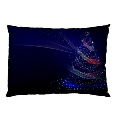 Christmas Tree Blue Stars Starry Night Lights Festive Elegant Pillow Case (two Sides) by yoursparklingshop