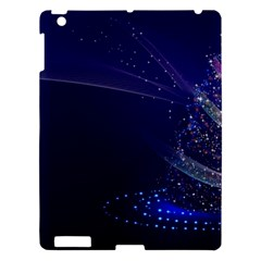 Christmas Tree Blue Stars Starry Night Lights Festive Elegant Apple Ipad 3/4 Hardshell Case by yoursparklingshop
