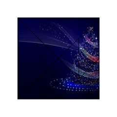 Christmas Tree Blue Stars Starry Night Lights Festive Elegant Acrylic Tangram Puzzle (4  X 4 ) by yoursparklingshop