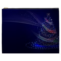 Christmas Tree Blue Stars Starry Night Lights Festive Elegant Cosmetic Bag (xxxl)  by yoursparklingshop