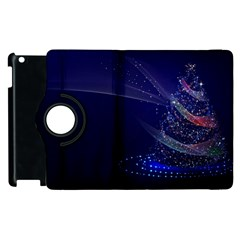 Christmas Tree Blue Stars Starry Night Lights Festive Elegant Apple Ipad 3/4 Flip 360 Case by yoursparklingshop