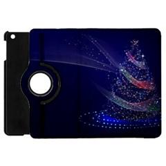 Christmas Tree Blue Stars Starry Night Lights Festive Elegant Apple Ipad Mini Flip 360 Case by yoursparklingshop
