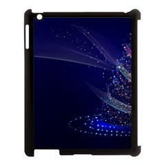 Christmas Tree Blue Stars Starry Night Lights Festive Elegant Apple Ipad 3/4 Case (black) by yoursparklingshop