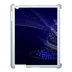 Christmas Tree Blue Stars Starry Night Lights Festive Elegant Apple Ipad 3/4 Case (white) by yoursparklingshop