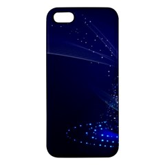 Christmas Tree Blue Stars Starry Night Lights Festive Elegant Apple Iphone 5 Premium Hardshell Case by yoursparklingshop