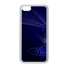 Christmas Tree Blue Stars Starry Night Lights Festive Elegant Apple Iphone 5c Seamless Case (white) by yoursparklingshop