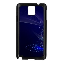 Christmas Tree Blue Stars Starry Night Lights Festive Elegant Samsung Galaxy Note 3 N9005 Case (black) by yoursparklingshop