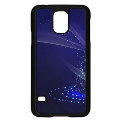 Christmas Tree Blue Stars Starry Night Lights Festive Elegant Samsung Galaxy S5 Case (black)