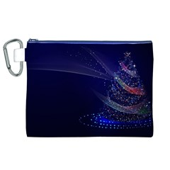 Christmas Tree Blue Stars Starry Night Lights Festive Elegant Canvas Cosmetic Bag (xl) by yoursparklingshop